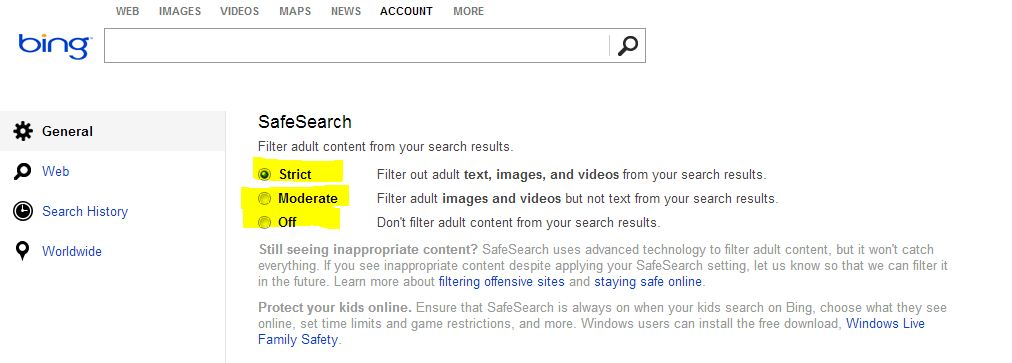 A screenshot showing the Bing safe search filter level settings.