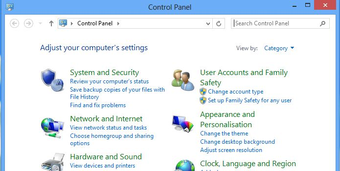 Screenshot of windows 8 control panel