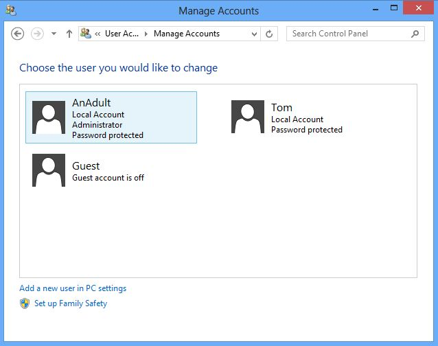 Screenshot of the manage accounts screen on windows 8