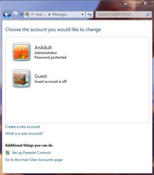 A screenshot of the manage user accounts screen on windows 7