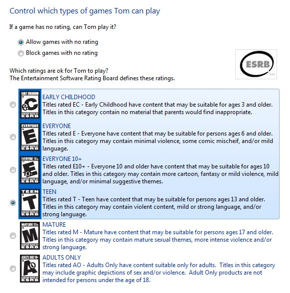 Screenshot of the windiws 7 parental controls game restrictions settings