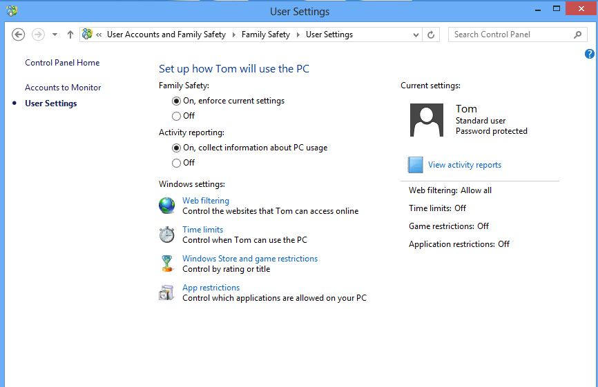 Screenshot showing the windows 8 family safety settings screen.