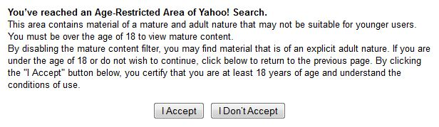 Screenshot of the yahoo safe search disclaimer.