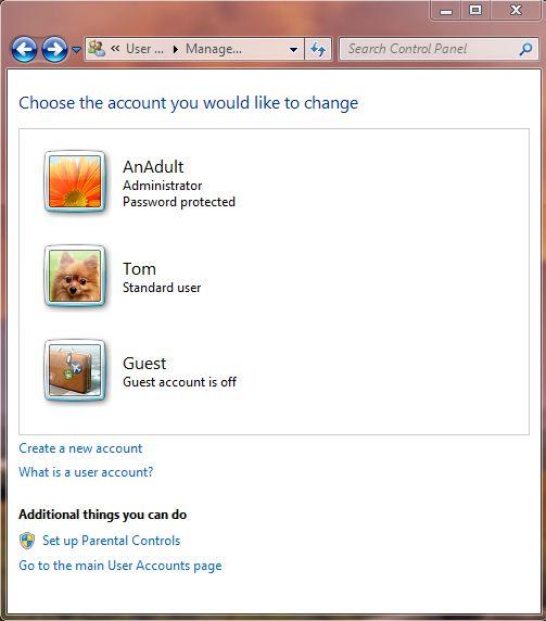 Screenshot of manger user accounts in windows 7