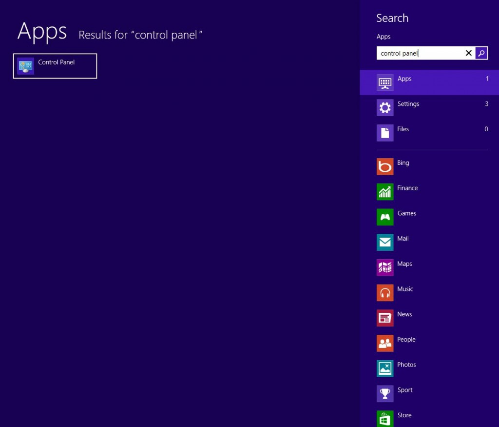 Screenshot showing one way to find the control panel on windows 8
