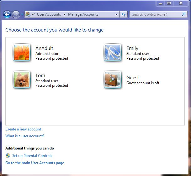 Screenshot of the manage accounts screen on windows 7