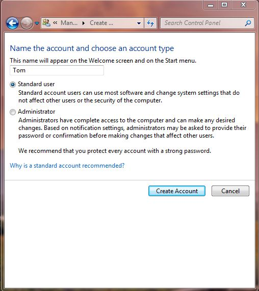 Screenshot of user account creation screen on windows 7