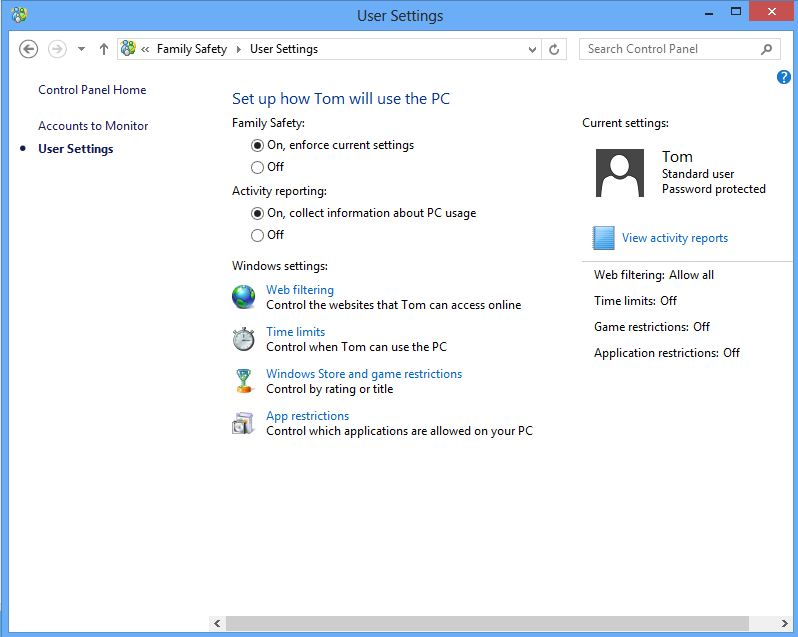 Screenshot of the user settings screen on windows 8