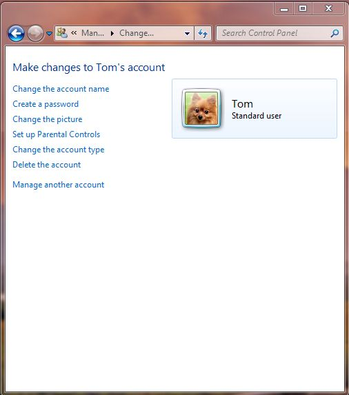 Screenshot of the account changes screen on windows 7