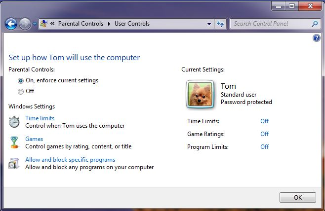 Screenshot of the windows 7 parental control settings screen