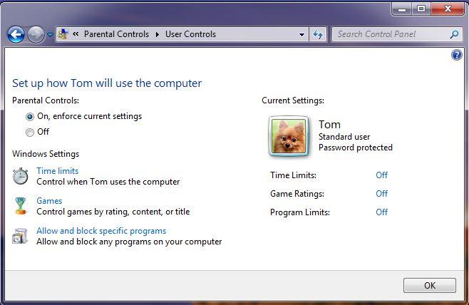 Screenshot of the windows 7 parental control settings screen