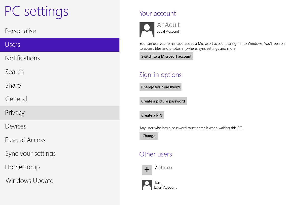 Screenshot of PC settings on windows 8 showing a child's account
