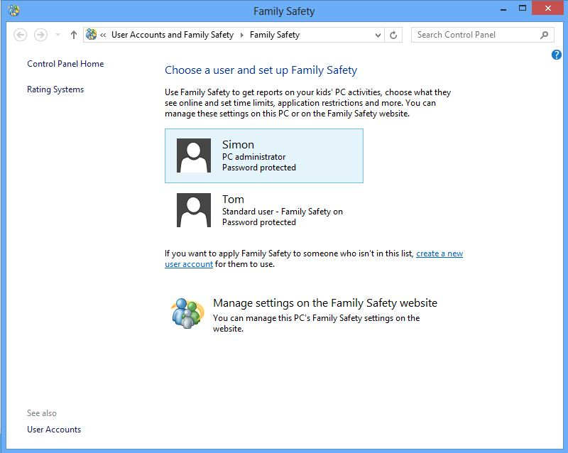 Screenshot - Choose a user and set up family safety.