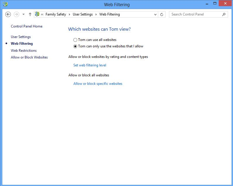 Screenshot of Web Filtering options when setting up family safety on windows 8
