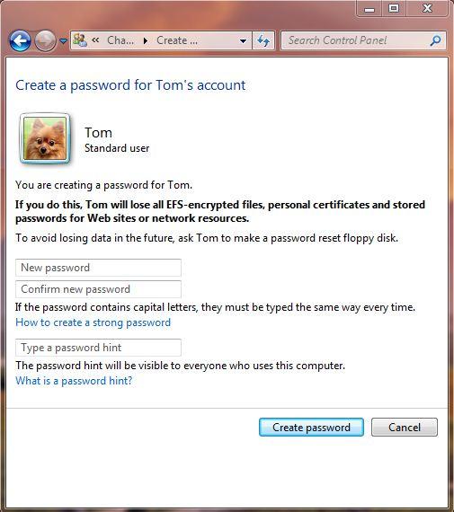 Screenshot of the password creation screen on windows 7