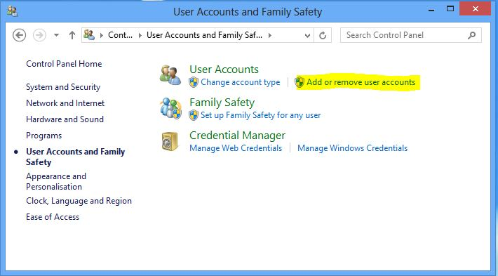 Screenshot of the user accounts and family safety screen in windows 8