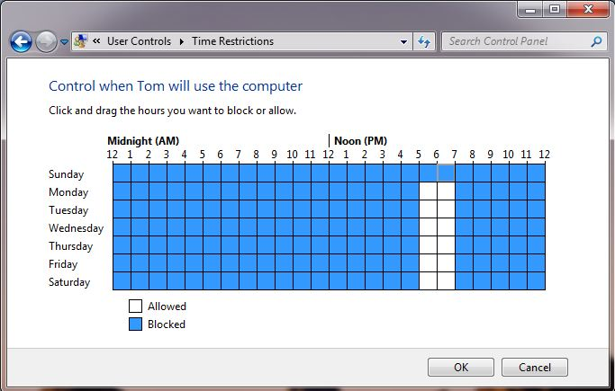 Screen shot of the windows 7 parental control time limit setting screen