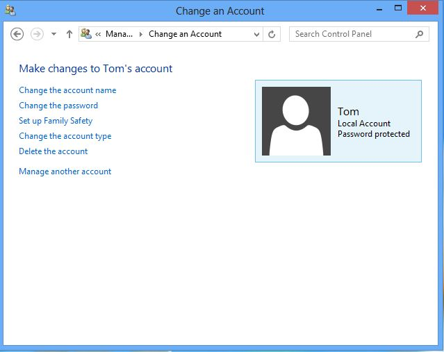 Screenshot of the change an account screen on windows 8