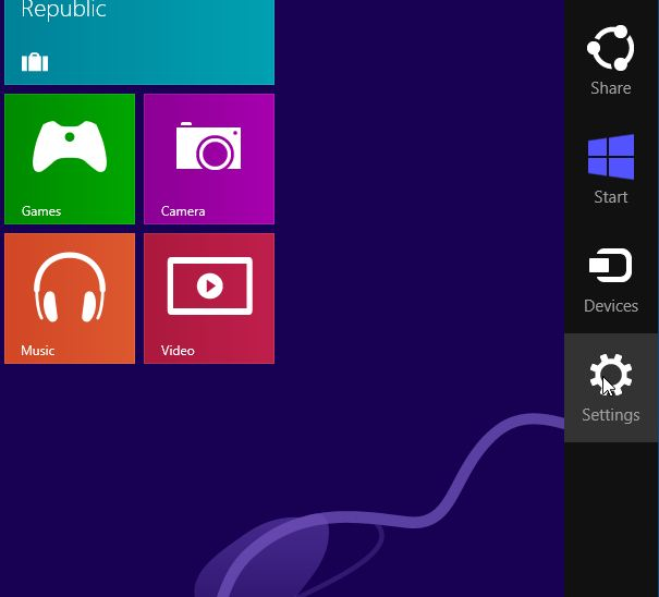 Screenshot of the windows 8 charms bar