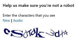 Screenshot of a captcha check.