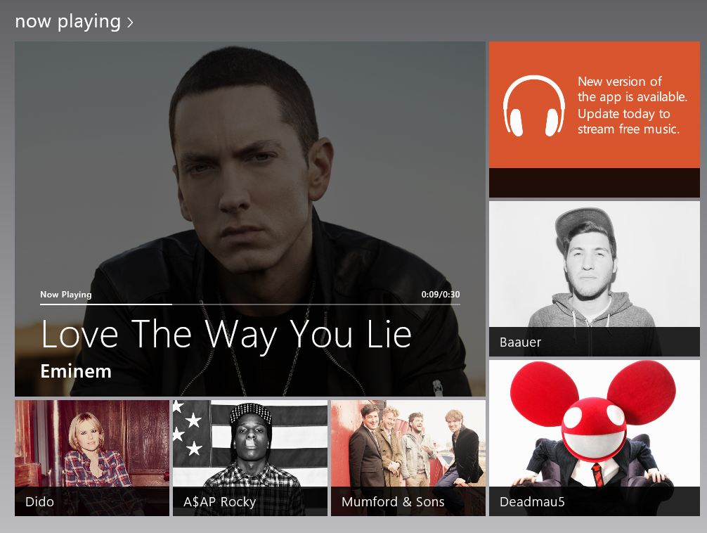 Screenshot of windows 8 music