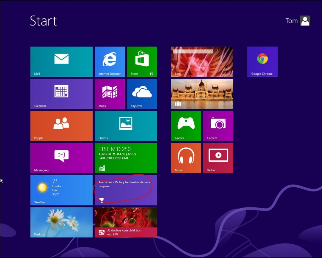 Screenshot of windows 8 metro UI
