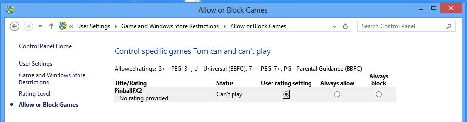 Screenshot of parental control game restrictions on windows 8