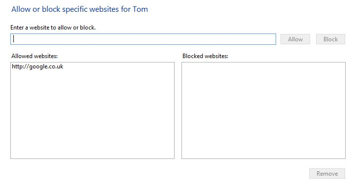 Screenshot of the web filter settings included as part of family safety on windows 8.