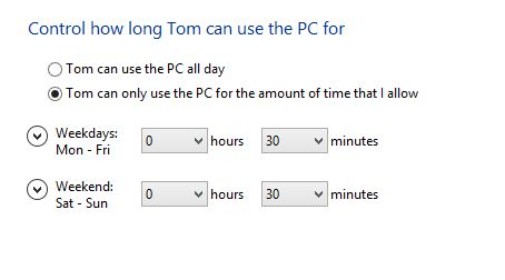 Screenshot of the tim eliomit settings for computer use in windows 8 family safety.