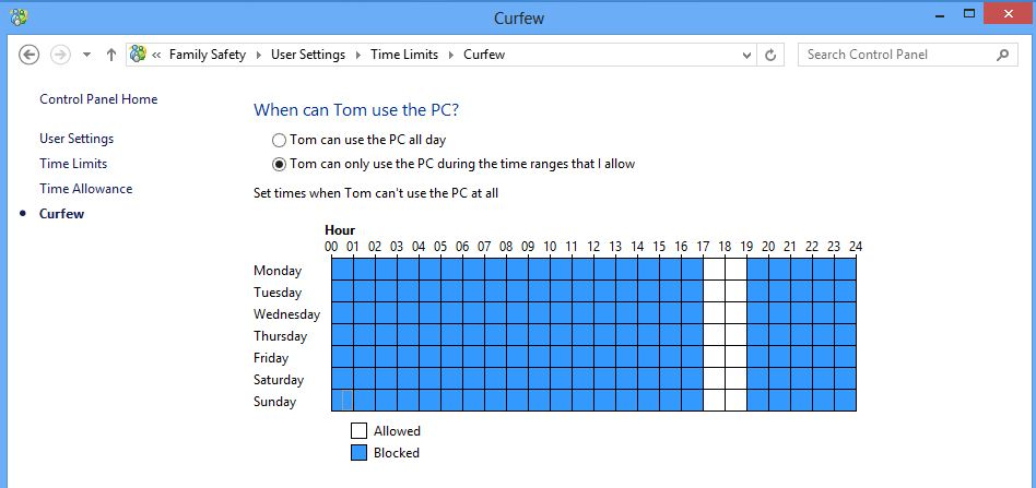 Screenshot of the family safety user curfew screen