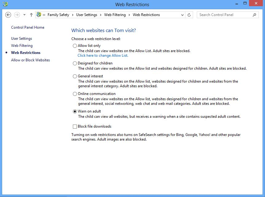 Screenshot of web filtering options in family safety